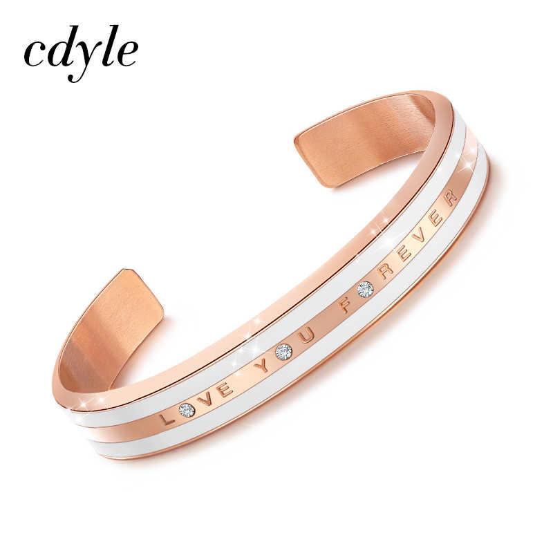 Cdyle femmes Bracelet en or embelli de cristal vous aime pour toujours bracelets pour les femmes amour cadeau Bracelet en or Rose