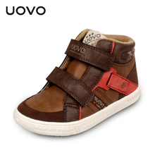 UOVO 2017 Leather Kids Shoes Mid-cut Boys Sneakers Children Casual Travel Shoes Flat Fashion Autumn Winter 3 Colors Size 27-35