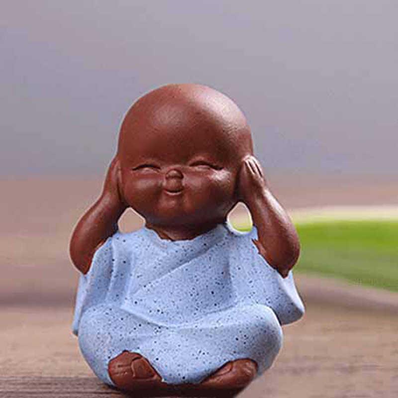 הודו יוגה המנדלה חיית מחמד תה סגול קרמיקה מלאכות דקורטיבי קרמיקה קישוטי נזיר קטן בודהה פסל נזיר צלמית טאתאגאטה