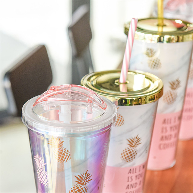 Pineapple Printed Portable Juice Mugs