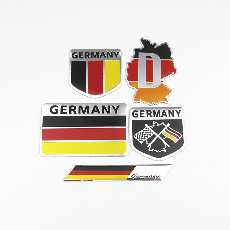 Metal 3D Germany German Flag Badge Emblem Deutsch Car Sticker Decal Window Body Decoration For Benz Vw Audi Bmw Opel