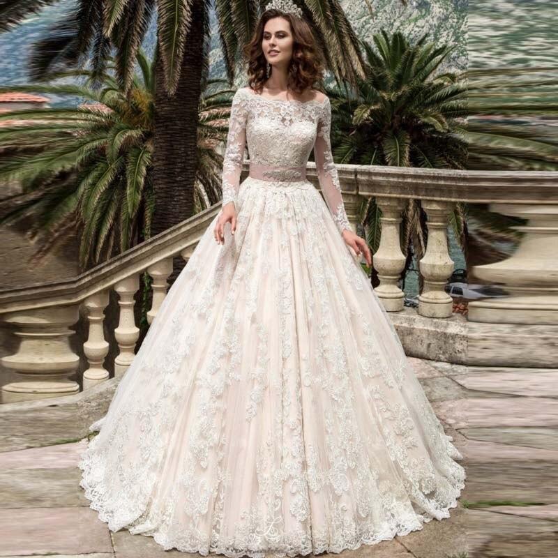 vintage vestidos de novia de encaje de manga larga de 2017 robe de