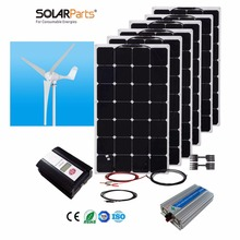 Boguang 1x 600W Wind Turbine+6X100W Solar Hybrid system DIY kit solar panel home house module mobile dc 12v/24v off grid tie