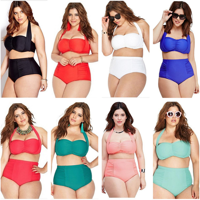 054cb056cf Sexy Plus Size Two Piece Bikini Set Solid Color Halter Swimwear Ladies  Padded Wire Free Bra High Waist Swimsuit 16 Color