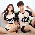 2017 summer lovers pajamas cartoon cat and fish cute girls pijama high quality sleepwear men plus size XXXL pyjamas women