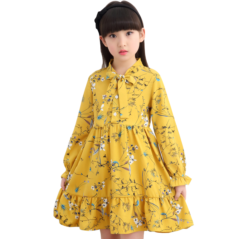 teenager girls loose chiffon dress long sleeve spring autumn floral printing cotton dress for 4- 14 years big girl clothes 2019 floral chiffon dress long sleeve