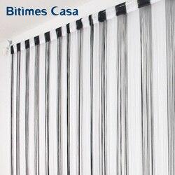 Czarno biała dwukolorowa kombinacja zasłona sznurkowa 300*300CM jednokolorowe okno o dużej gęstości Vanlance parawan|string curtain|curtains curtaincurtains solid color -