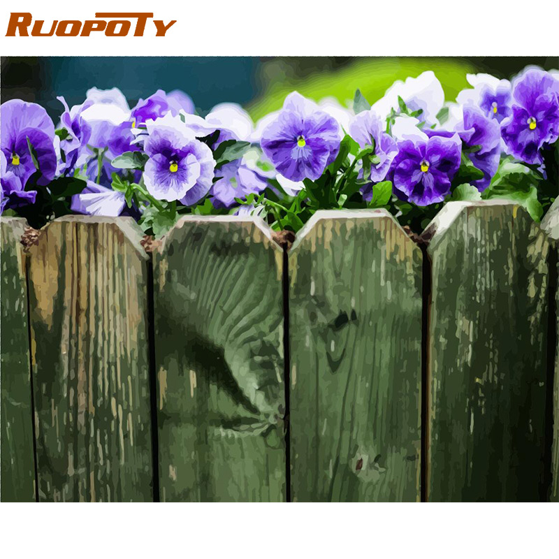 RUOPOTY Frame Purple Flowers DIY Painting By Numbers Modern Wall Art Picture By Numbers Acrylic Paint By Numbers For Living Room