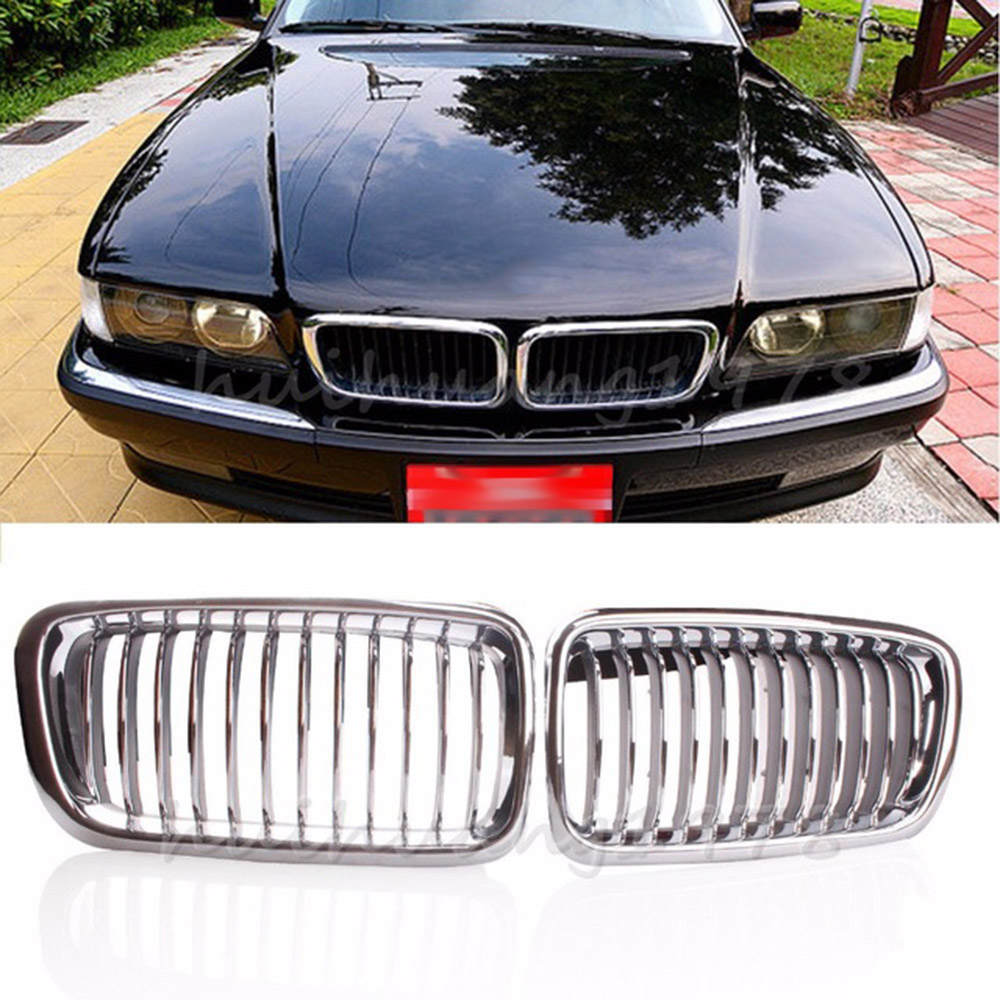 1 Pair Silver Left & Right Grille <font><b>Grill</b></font> Chrome Frame Fin Bar Grid For <font><b>BMW</b></font> 7-Series <font><b>E38</b></font> 740i 740iL 1999-2001Plastic Racing <font><b>Grills</b></font> image