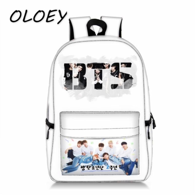 Bangtan Boys Backpack Korea BTS Boys Photo Print Students School Bookbag For Teenager Girls Bag High Capacity Travel Laptop Bag! one2 design grizzlies pattern backpack brand new design laptop backpack high school students teenager boys girls kid children