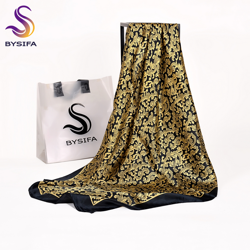 [BYSIFA] Black Gold Ladies Silk   Scarf   Shawl Fashion Brand Pure Silk Square   Scarves     Wraps   90*90cm Winter Large Silk   Scarf   Cape