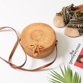 2018 nuevo bolso de paja redondo de verano para mujer, bolso de ratán, bolsos de hombro hechos a mano, bolsos de playa informales para mujer