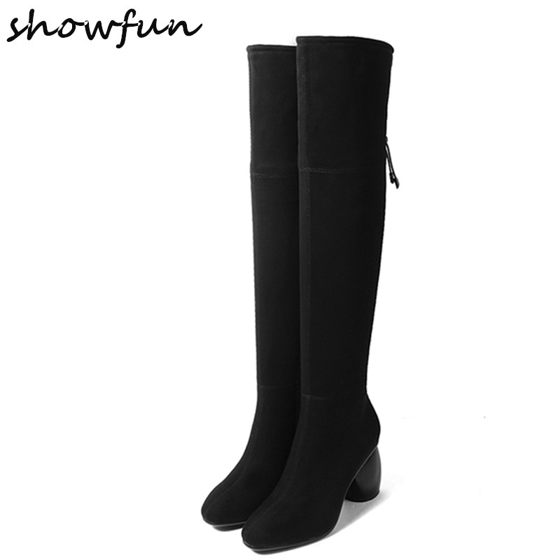 Womens Genuine Suede Leather Winter Over The Knee Boots Brand Designer Thick High Heel Comfortable Black Slim Tall Boots Shoes