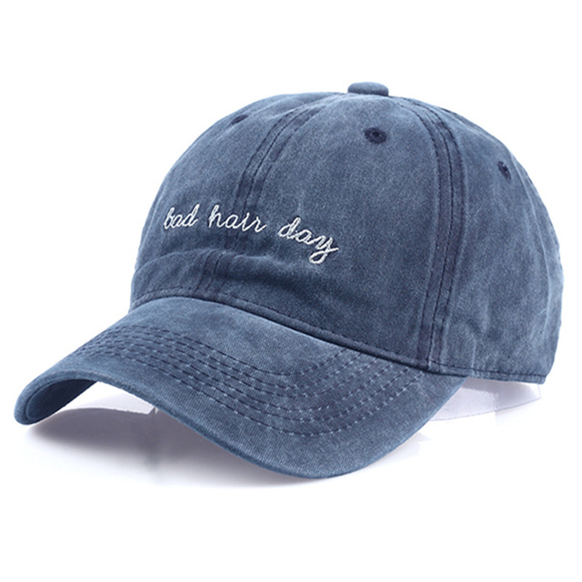 new Bad Hair Day Cap Washed Baseball Cap Women Men Hat Cap Casual Snapback  Letter Dad Hat Summer Cotton Adjustable Bone Male d3f93becf81