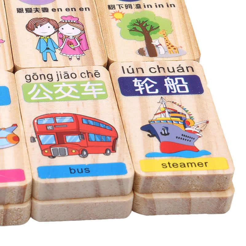 100 шт./компл. новый стандартный деревянное домино китайский, пиньинь цифровой Domino Конструкторы детские развивающие игрушечные лошадки для детей