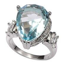 Brillante Aquamarine con Multi blanco zafiro anillo de plata 925 del precio de fábrica para mujer talla 6 7 8 9 10 11 F1496