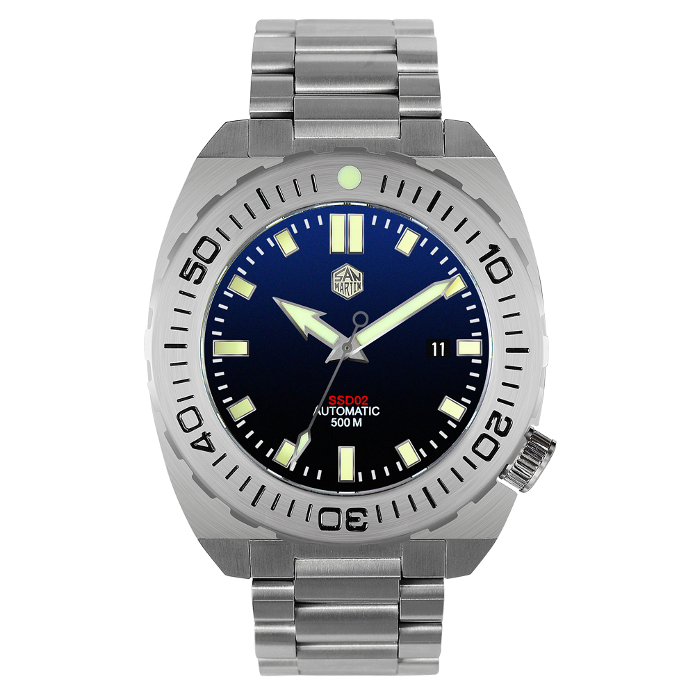 San Martin Men Automatic Mechanical Watch 500m Water Resistance Sapphire Glass Stainless Steel Diving Watch Big