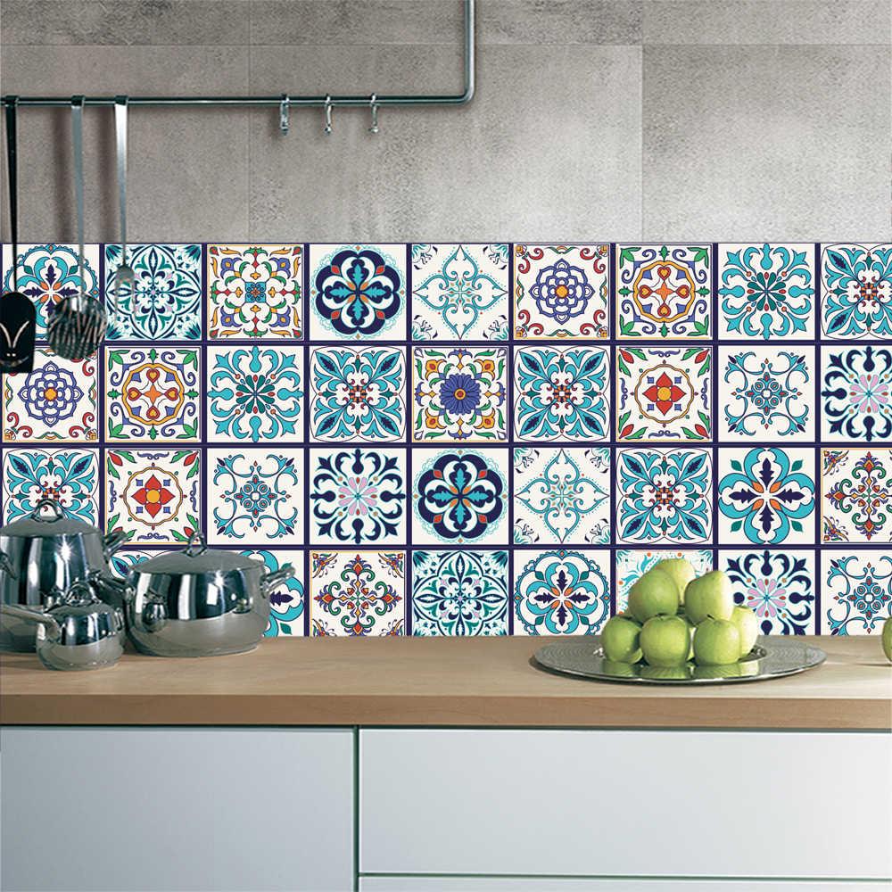 papier peint auto adhesif en pvc 5 pieces carrelage ceramique marocain etanche tiroir de cuisine armoire sol salle de bains autocollant mural