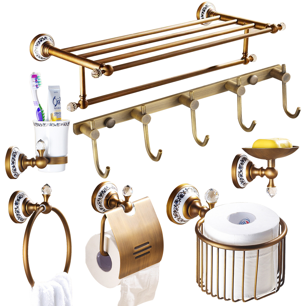 Brass bathroom accessories sets - Aliexpress Com Buy European Antique Porcelain Crystal Bathroom Accessories Set Polished Diamond Bathroom Hardware Brass Products Kgx From Reliable