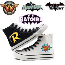 Printing Cool Batman Character Logo Cartoon high top breathable canvas uppers sneakers student personali fashion Casual shoes