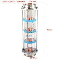 ¡Nuevo! 4 Uds. 99.9% de columna de destilación de placas de burbujas de cobre rojo con 4 secciones de destilación. Columna de vidrio de