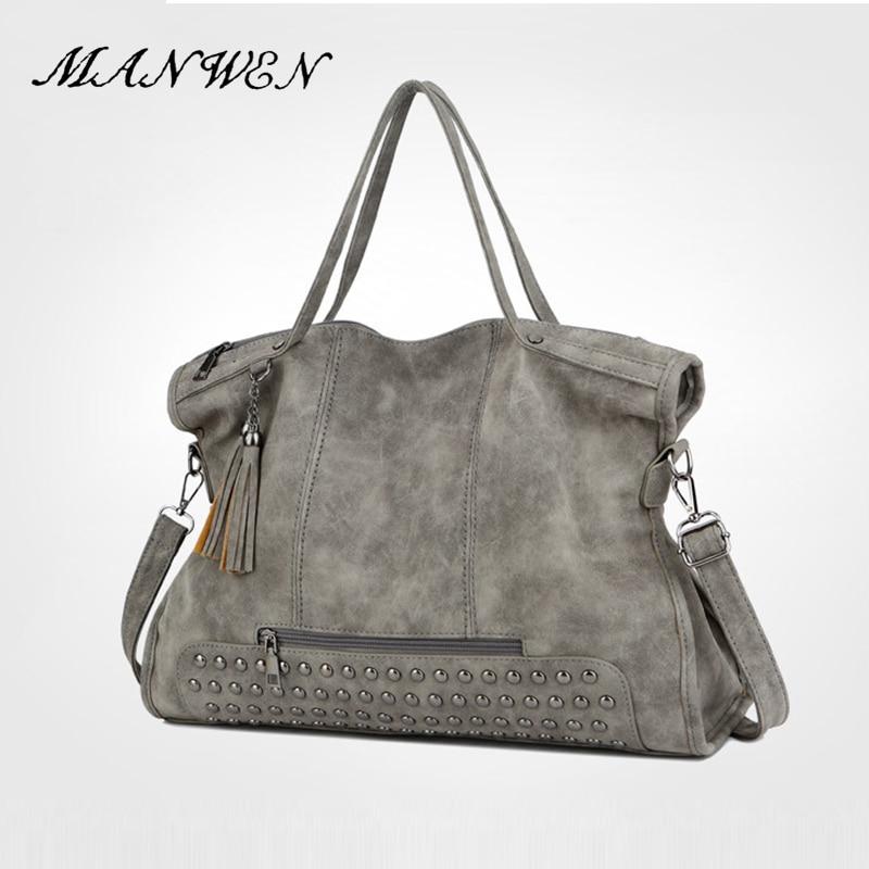 цены на Rivet Vintage PU Leather Female Handbag Fashion Tassel Messenger Bag Women Shoulder Bag Larger Top-Handle Bags Travel Bag в интернет-магазинах
