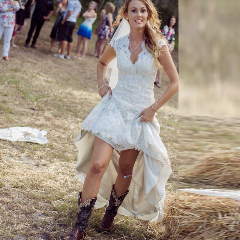 Country Chic Wedding Dresses | Vintage High Low Rustic Cheap Sexy V Neck Cap Sleeve 2018 Plus