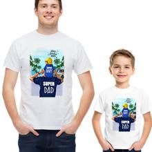 Koszulka w stylu ojca i syna Super tata i Super koszulka dziecięca mężczyźni chłopiec rodzina pasująca Tshirt męski dzień ojca tanie tanio Sincerity Create Koszulki Moda Krótki Pasuje prawda na wymiar weź swój normalny rozmiar COTTON Cartoon Ojciec i Syn