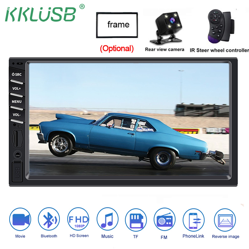 autoradio car radio 2 din 12v 7 inch touch screen android mirror link auto audio stereo bluetooth rear view camera aux player