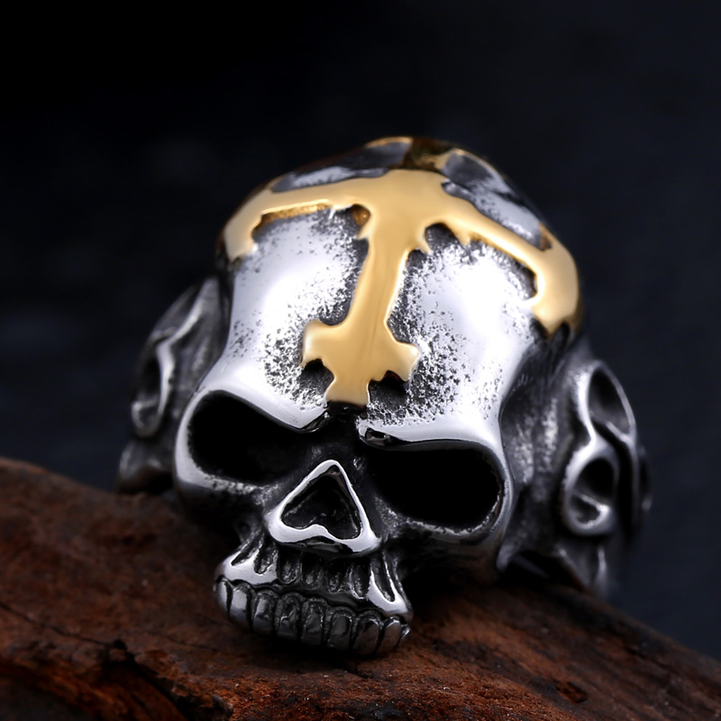 New Punk Biker Cross Fang Skull Ring For Man Stainless Steel Hot Sale Skeleton Style Jewelry BR8-140