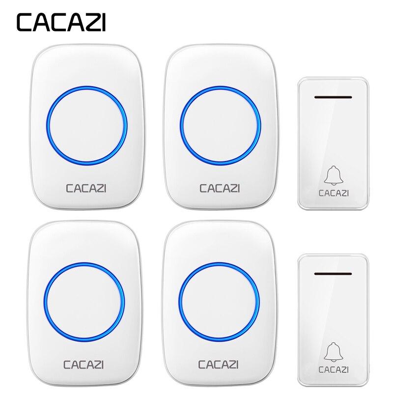 CACAZI Auto-alimenté Sans Fil Sonnette Étanche Sans batterie US EU UK Plug 2 Bouton 4 Récepteur led Accueil sans fil Sonnette