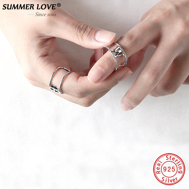 2018 925 sterling silver Personalized 26 Letter A-Z Rings Adjustable Jewelry For