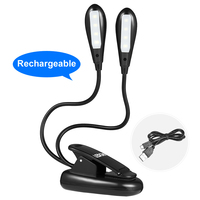 LEDGLE Rechargeable Book Lights Compact LED Book Light Easy Clip On Reading Lamps With 2 Lamp