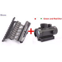 Tactical AK Side Mount Quick QD Style 20mm + Hunting Tactical Green Red Dot Sight Scope Laser 1X30 with 20mm Rail