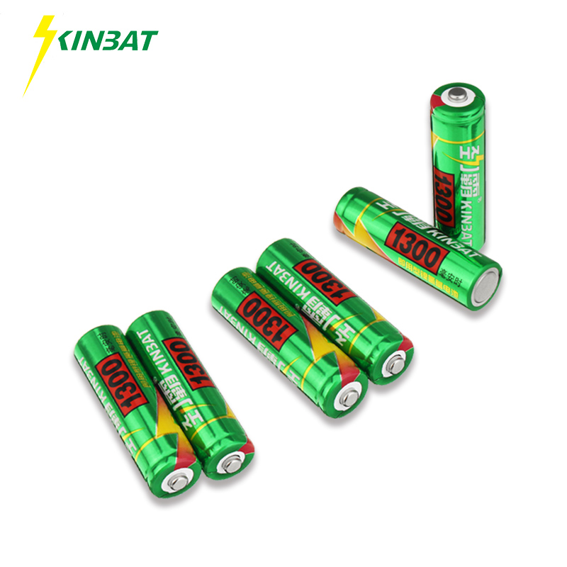 KINBAT 6pcs 1300mAh 1.2V AA Ni-MH Rechargeable Battery AA Pre-Charged NIMH Batteries Pack For Toys Microphone Remote Controls
