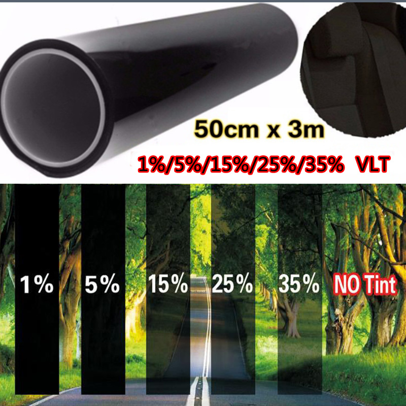 Car window tint film 50cm*300cm glass VTL 5% roll black for car side window house commercial solar protection summer car sticker the window office paper sticker pervious to light do not transparent bathroom window shading white frosted glass tint