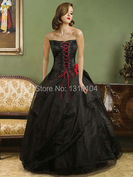 1960s Black Red Bridal Gowns With Color Ball Gown Corset Floor Length Organza Victorian Wedding Dresses