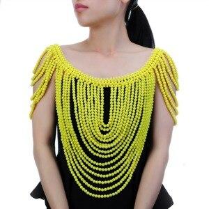 Image 3 - תכשיטים וינטג הצהרת גוף כתף ביב מלא שרף חרוזים שרשרת נשי צווארון כתף שרשרת ארוך נשים collares