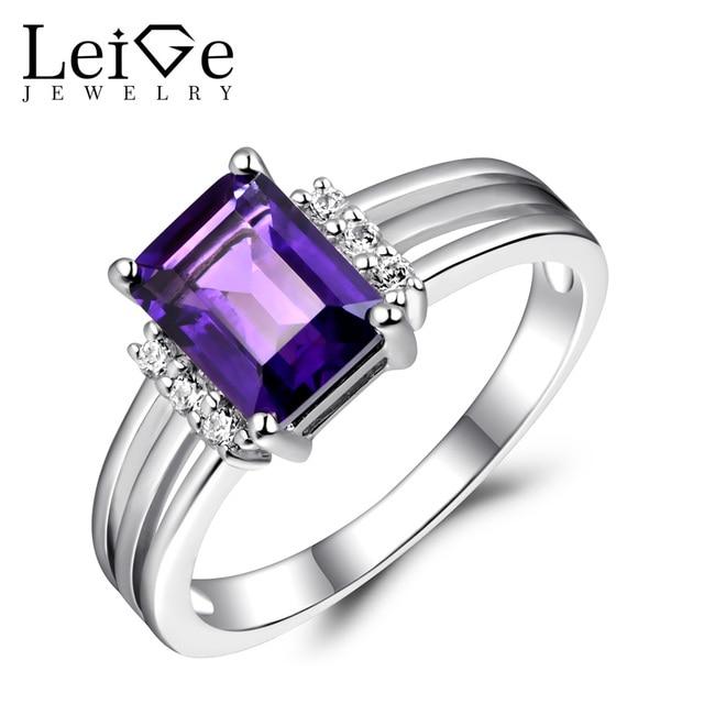 Leige Jewelry Sterling Silver 925 Rings Amethyst Natural Purple Gemstone Emerald Cut Love Wedding Anniversary Rings for Women