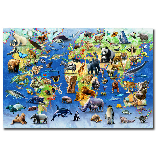 Nicoleshenting animals world map science educational art silk fabric nicoleshenting animals world map science educational art silk fabric poster print nursery wall pictures kids gumiabroncs Choice Image