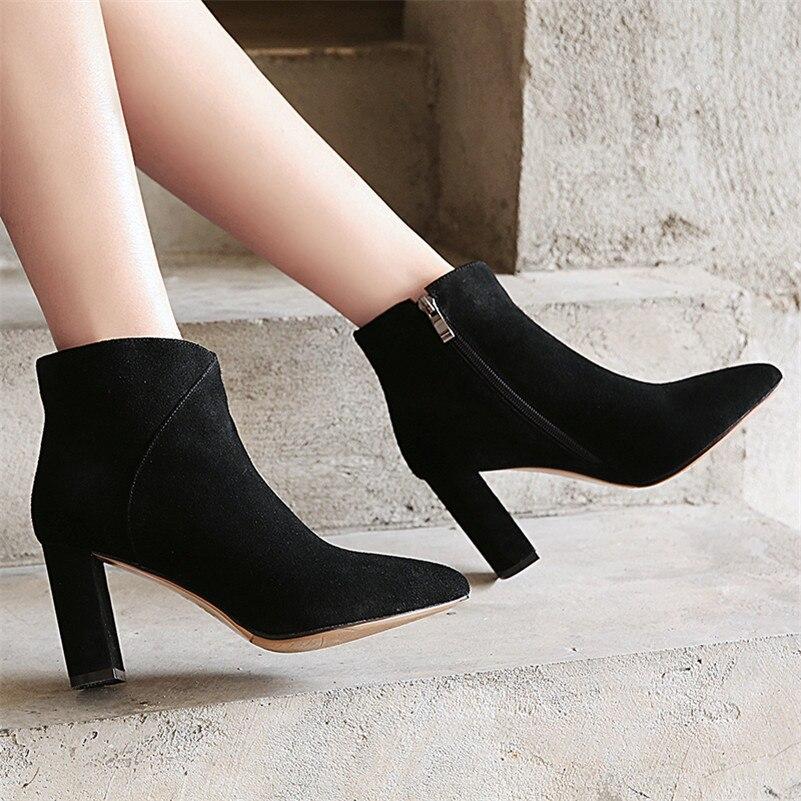2288bff2f Zipper Tacón Mujer Negro De Invierno Mujeres Diseño Fedonas Otoño 1 Martin  Marca Alto 1 Casual Moda Botas Caliente Vaca Zapatos w1qxS47