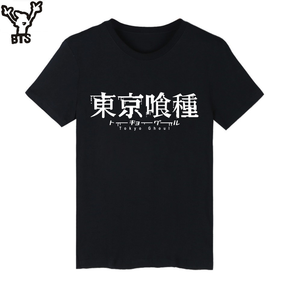 BTS Tokyo Ghoul Anime Kaneki Ken Long T-shirt Men Hip Hop Short Sleeve T Shirts and Mens TShirts Summer Punk Band Tee