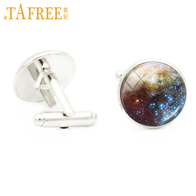 Tafree Planet Cufflinks Blue Cuff Link Rhodium Plated Jewelry