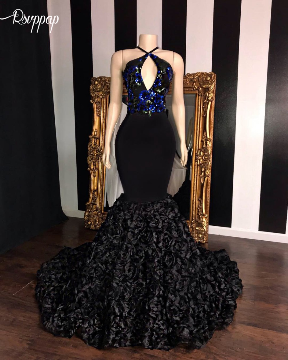Real Sample Long Mermaid   Prom     Dresses   2019 V-neck Top Sequin Applique Flowers African Girl Black Satin Backless   Prom     Dress