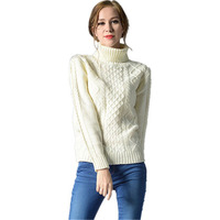 6 Colors 2016 New Fashion Autumn Winter Thick Turtleneck Sweater Women Black Knitted Sweaters And Pullovers