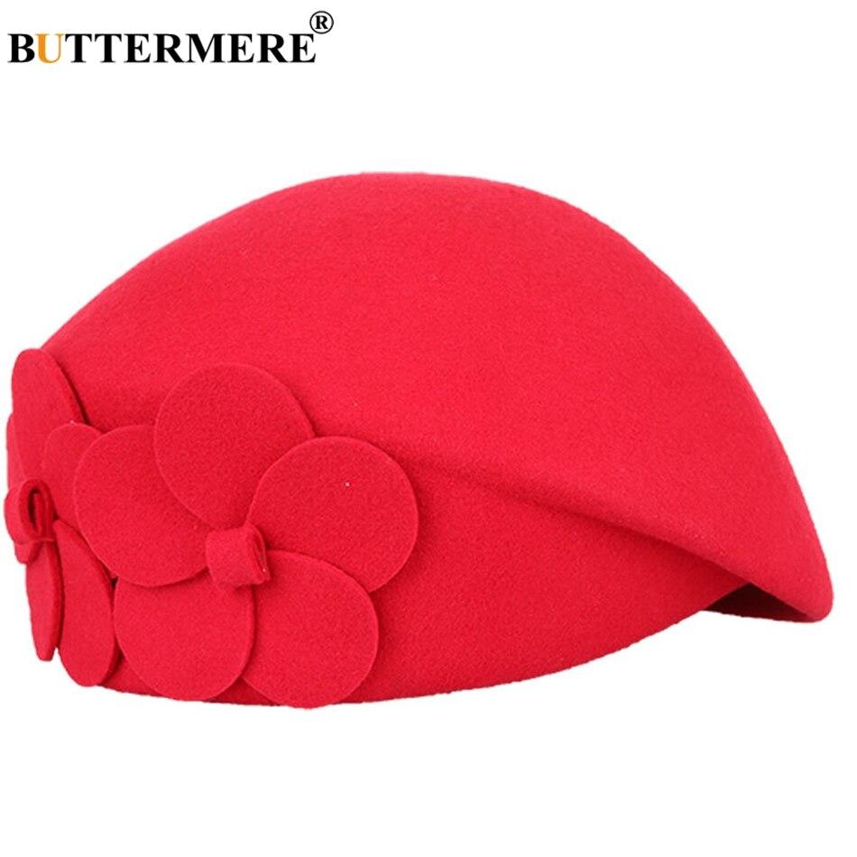 BUTTERMERE elegante sombreros para damas rojo lana sombreros de La Flor de  la gracia francés boinas mujeres tapa sólida cálido otoño invierno sombrero  de ... dd445c5fb0b