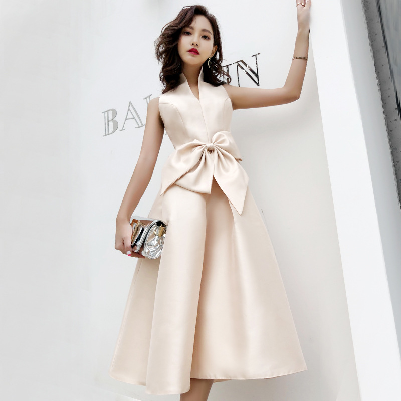 Retro Dress For Women Sexy Sleeveless Stand Collar Bow Elegant Midi Dress Party Club Night Dress