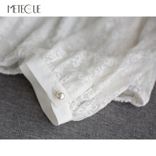 Cross Stitch Hollow Out Ruffles Stand Collar White Blouse Pearl Button Women Shirts Womens Tops And Blouses Spring Summer 2018