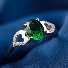 925 Sterling Silver Green Oval Ring CZ Zirconia Vintage Wedding Rings Engagement For Women anillos de plata ley