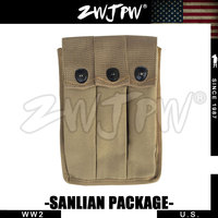 WWII WW2 US Amry Thompson Magazine Pouch 3 Cell 30 AMMO POUCH Rounds Khaki US 104109